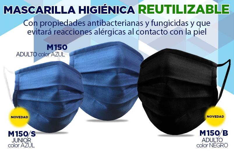 MASCARILLA REUTILIZABLE M150 novedad en talla junior y en color negro