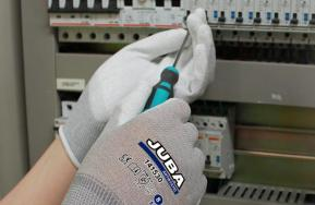 Antistatic glove in specific format for the point of sale
